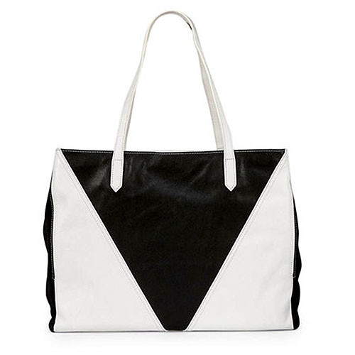 Sondra Roberts Nappa Black and White Shoulder Bag