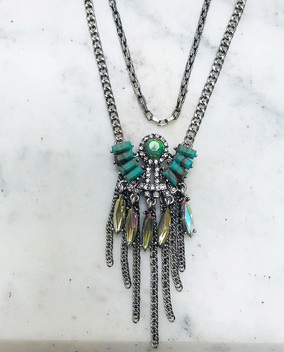 Turquoise Deco and Fringe Layered Medallion