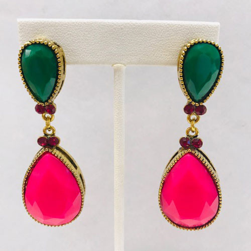 Jade Green and Pink Pear Drops
