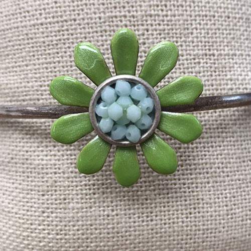 Large Green and Turquoise Flower Bangle