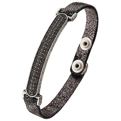 Faux Pewter Leather & Black Diamond Bar Bracelet