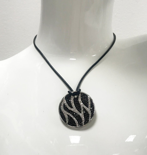 Cubic Zirconia Zebra Medallion Necklace