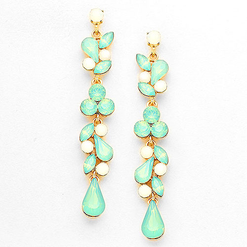 White Opal & Mint Crystal Vine Earring