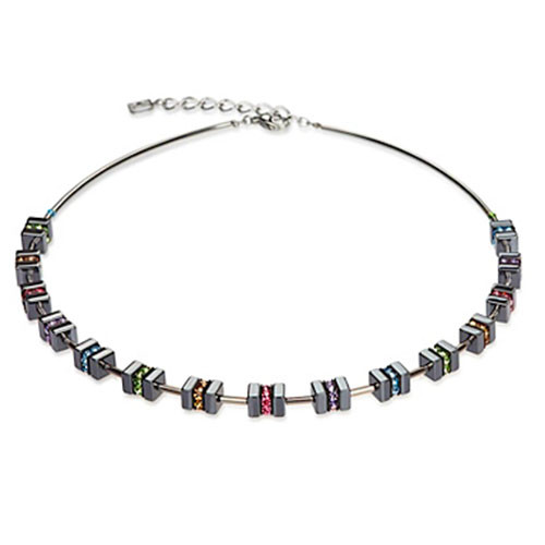 Hematite Squares and Multi-Crystals Necklace