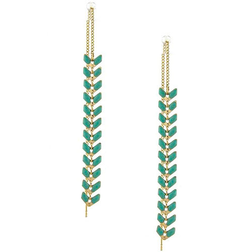 Green Enamel Fern Ear Strings