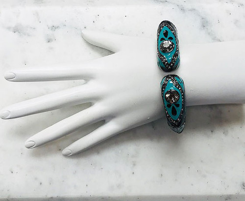 Turquoise and Black Enamel Bangle
