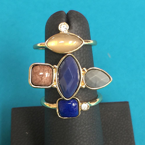 Multi-Stone Ring Trio Set