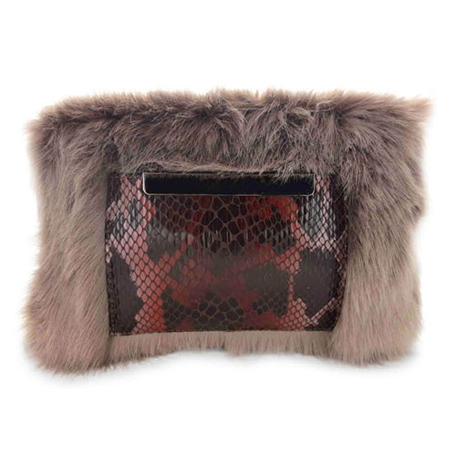 Sondra Roberts Faux Fur and Python Cross Body 1