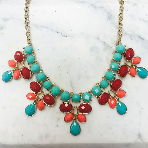 Turquoise and Red Five Pointed Bib Necklace