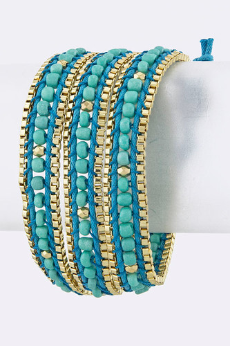 Beads and Chain Wrap Bracelet