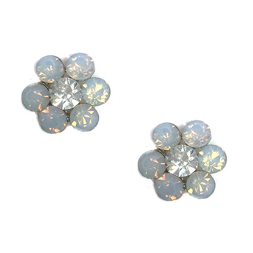 White Opalescent Crystal Flower Post Earring