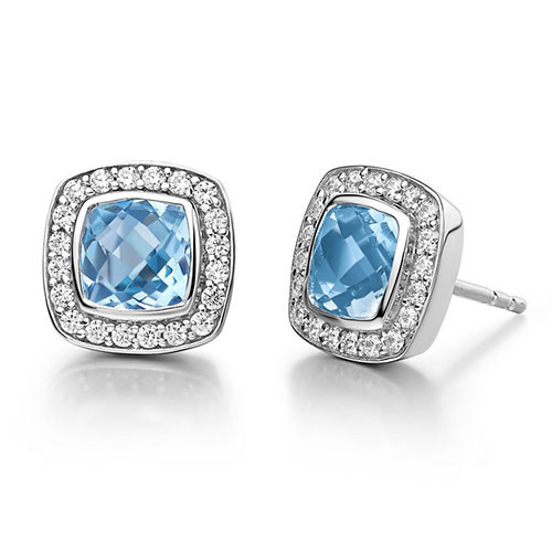 Lafonn's Sky Blue Topaz Square Halo Earrings