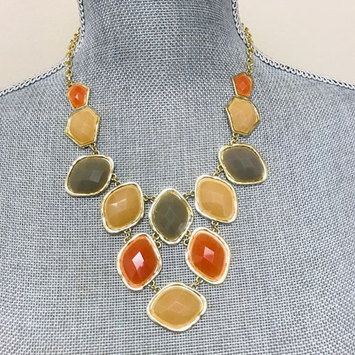 Gray/Orange Diamond Jewels Bib Necklace