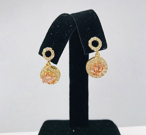 Topaz Circle Petite Drop Earrings Gold