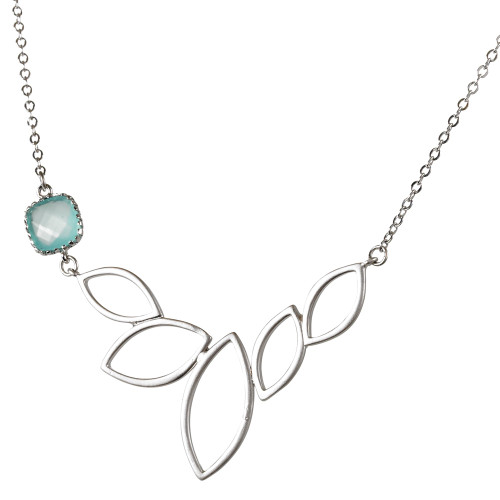 Lotus Necklace with Aqua Crystal