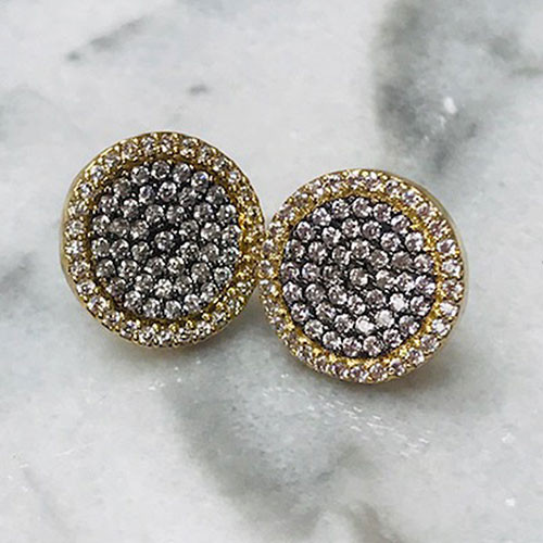 Pave C.Z. Disk Earrings