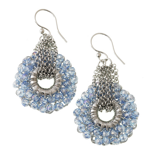Crocheted Metal with Blue Crystals Earring