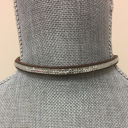 Brown Leather And Crystal Magnetic Choker