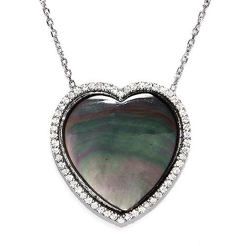 Gray  Medium Mother-of-Pearl Heart  Necklace