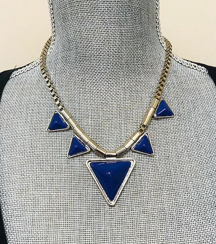 Points and Box Chain Necklace Cobalt