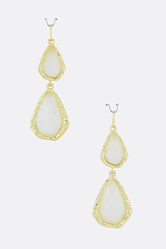 White Double Teardrop Acrylic Earring