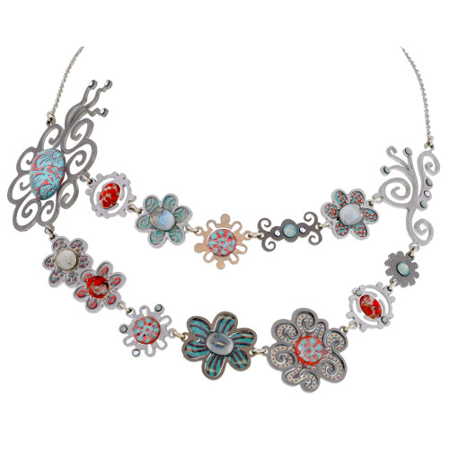 Double Chain of Linked Flowers Necklace