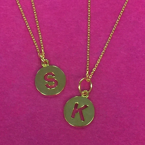 Petite Cut-Out Initial Letter Disk Necklaces