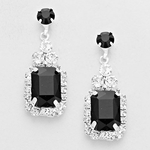 Emerald Cut Jet Crystal Drop Earring