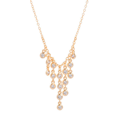 Gold Cubic Zirconia Waterfall Fringe Necklace