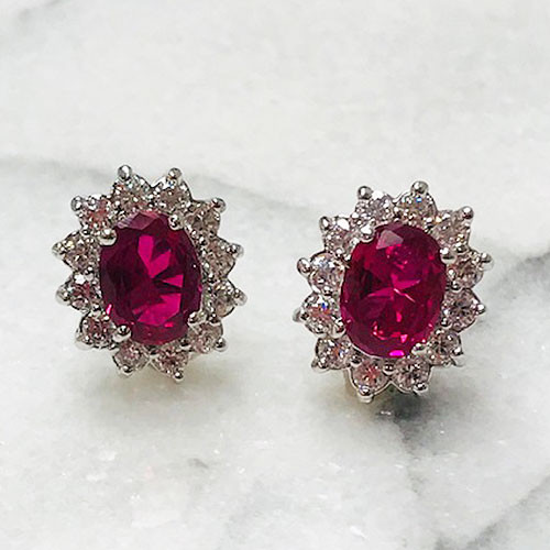 Pink Ruby Oval Flower Stud