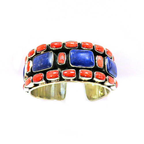 Lapis and Coral Cuff
