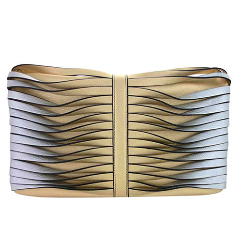 Sondra Roberts Twisted Nappa Fold Over Clutch Gold/Silver