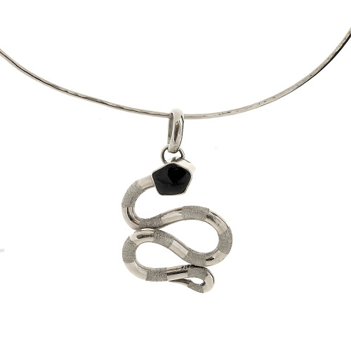 Retro Onyx Snake Necklace