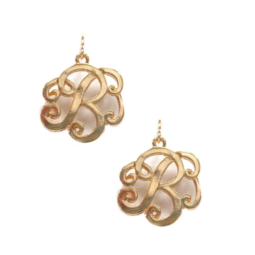 Gold Script Initial Monogram Earrings