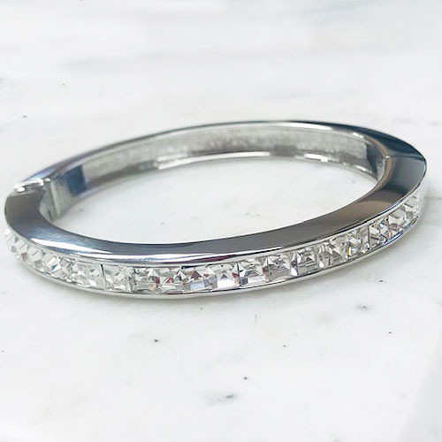 C.Z. Channel Set Bangle Silver