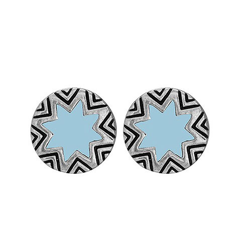 House of Harlow Mini Sunburst Earrings-Baby Blue