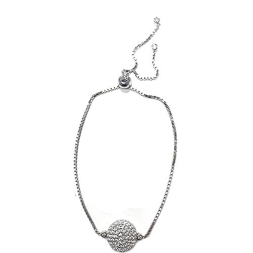 Sterling Silver Pave C.Z. Disk Pull Chain Bracelet