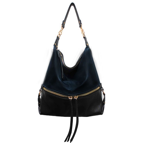 Sondra Roberts Nylon & Nappa Trim Hobo in Black and Navy 1