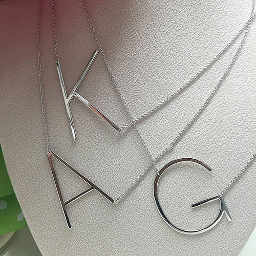 Our wonderful Sideways Large Initial Necklaces in Silver
