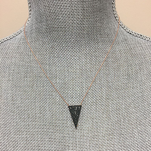 Rose Gold & Black Crystal Triangle Necklace
