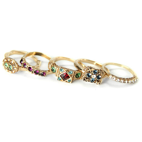 Set of Five Vintage Crystal Rings G