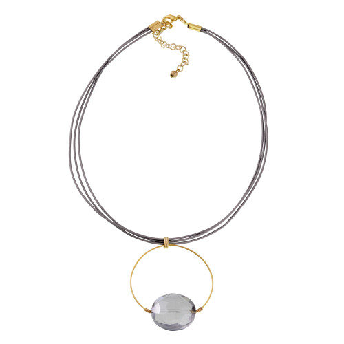 Floating Labradorite Crystal On Gold Hoop