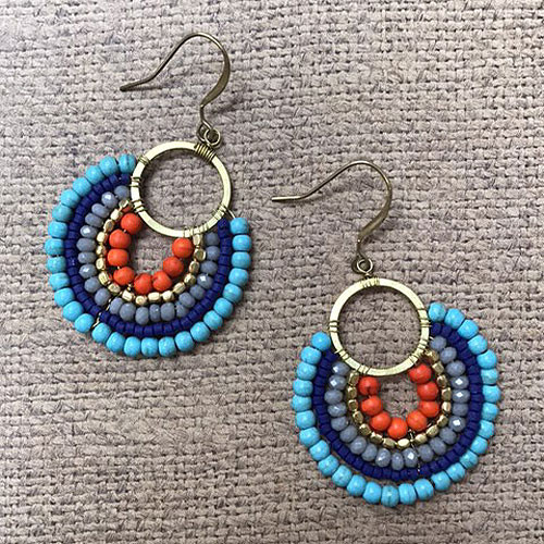Colorful Boho Beaded Earrings B