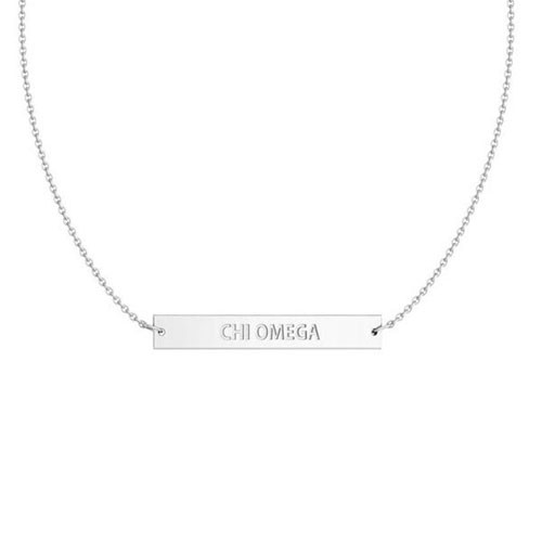 Chi Omega Silver Infinity Bar Necklace