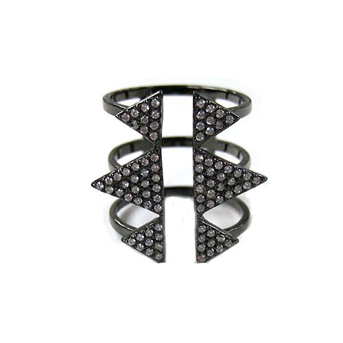 Six Triangle Black Rhodium Open Top Ring