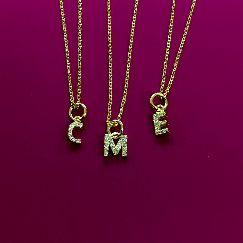 Petite Cubic Zirconia Initial Sterling Vermeil Necklace