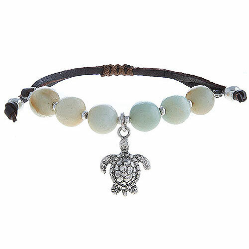 Natural Polished Stone Bracelet w/ Turtle