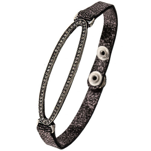 Pewter Faux Leather Open Oval Bracelet