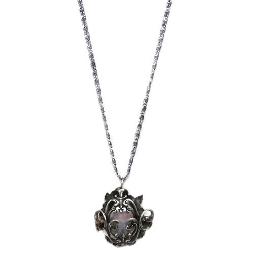 Antique Silver Caged Mabe Pearl Necklace