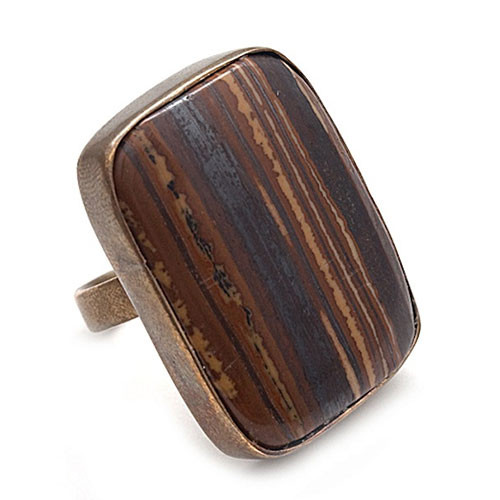 Large Petrified Brown Agate Ring